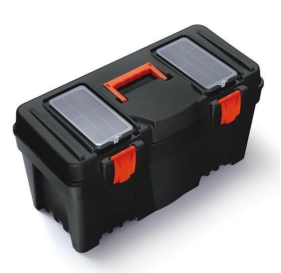 MUSTANG LARGE COMPACT PLASTIC TOOL BOX + INNER TRAY 25