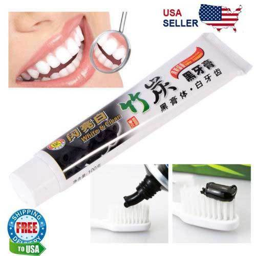 Charcoal Teeth Whitening Toothpaste Black Removes Stains Bad Breath Natural