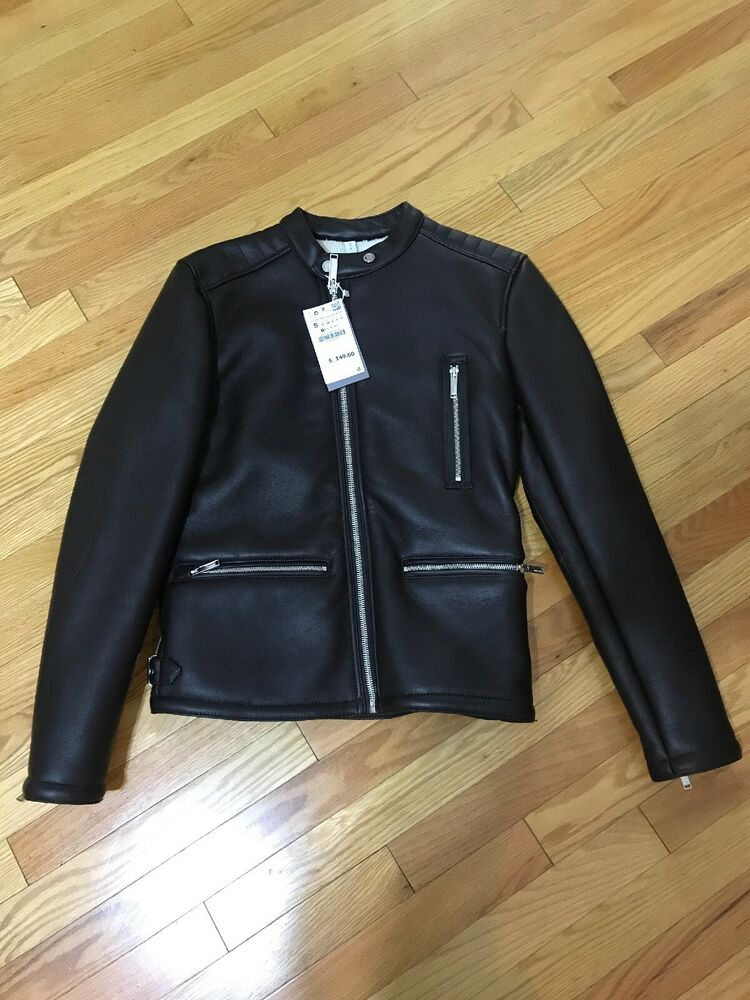 Zara Men S Brown Leather Double Sided Biker Jacket New With Tags
