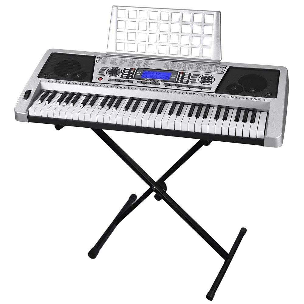 piano keyboard electric 61 electronic key stand silver organ board lcd display adjustable notes musical timbres synthesizer talent microphone duty