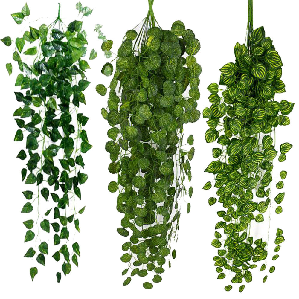 Artificial fake hanging vine plant leaves garland home for Foglie finte per balcone