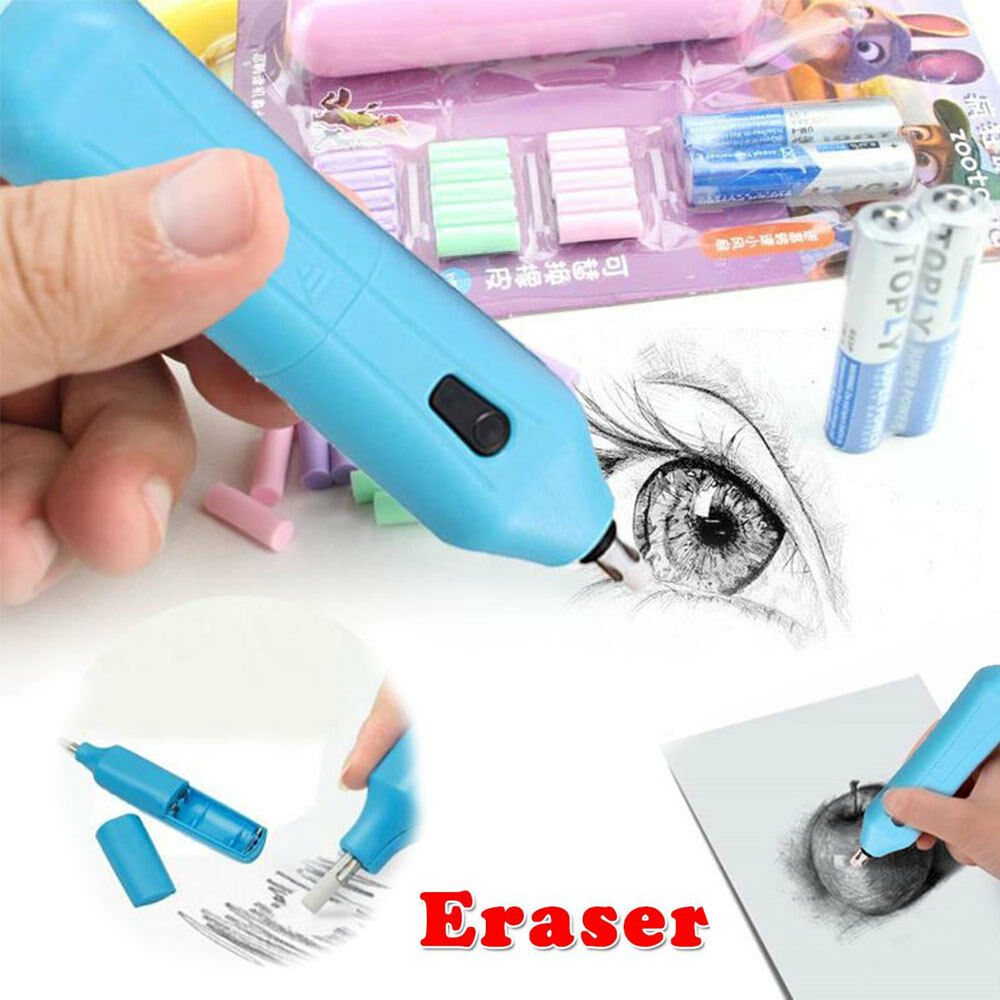 Details about electric sketch eraser kit portable rubber pencil drawing art stationery