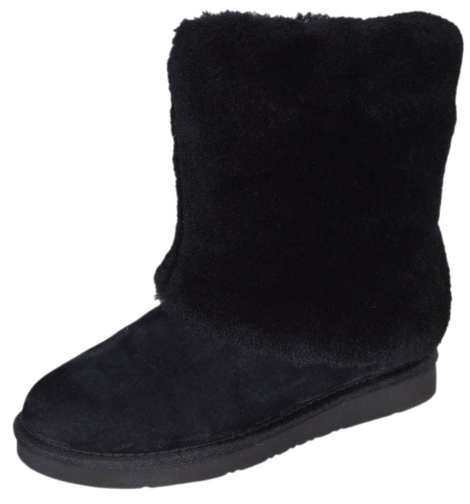 2c8bca80b79 NEW Women's UGG Australia Patten 1006011 Black Suede Lamb Fur Short ...