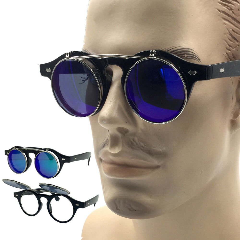 2968710af3 Details about Round Flip Up Mirror Color Lens Round Shape Circle Sunglasses  Steampunk Mens