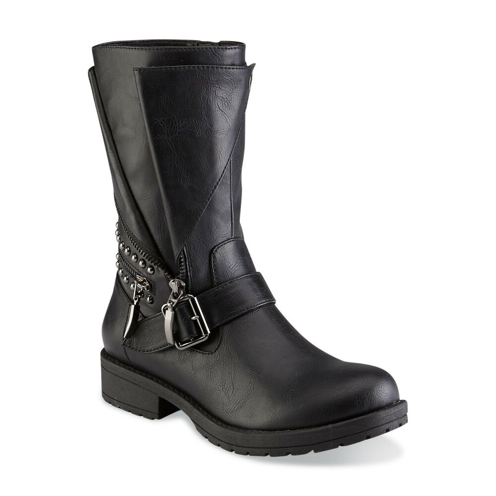 Details about BONGO Women s ZEV Black Moto Mid-Calf Boots 30628 Size 6  Medium a101c43ffd04