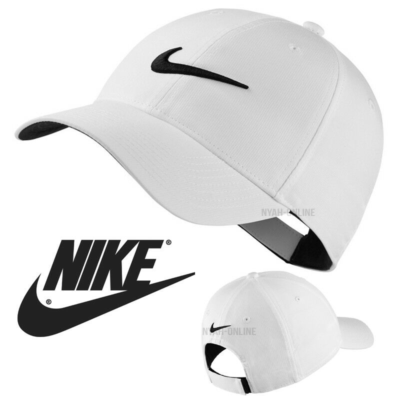 19aa72b88bf65 Details about NEW Nike SWOOSH BASEBALL CAP WHITE PLAIN GOLF LEGACY 91 TECH  FITTED PEAK HAT