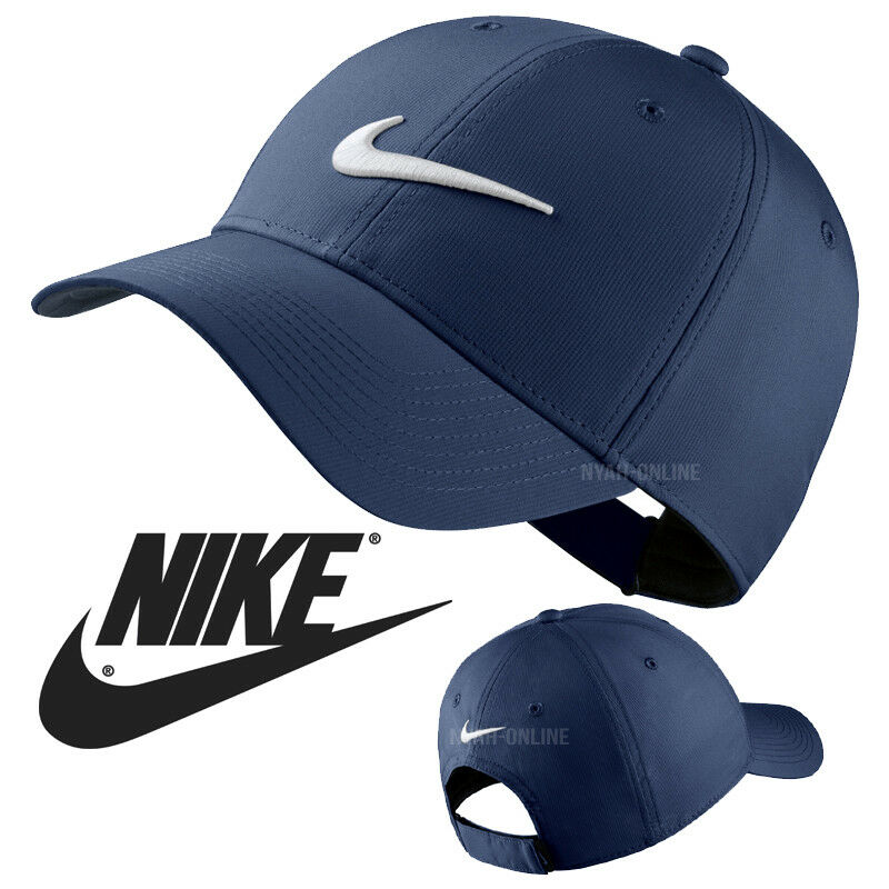 Details about NEW Nike SWOOSH BASEBALL CAP NAVY PLAIN GOLF LEGACY 91 TECH  FITTED PEAK HAT 789c60b8daa