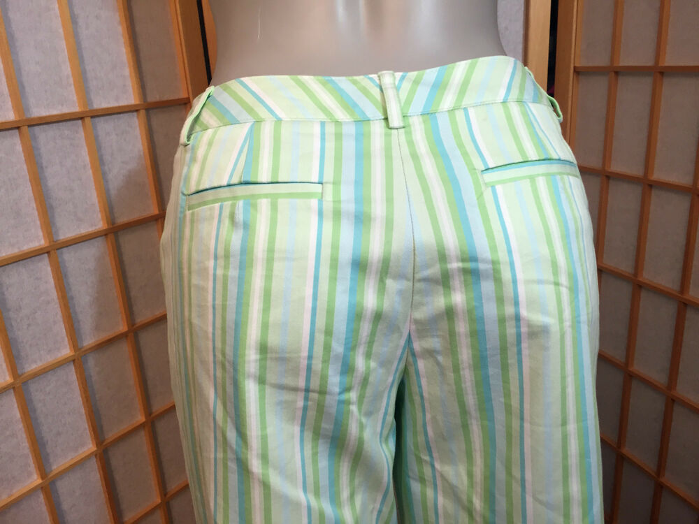 8b71de060465 Talbots Green Stripes Stretch Cotton Cropped Casual Pants Womens ...
