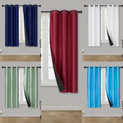 1 Set Short Silk Window Blackout Insulated  Thermal Lining Curtain D24 36''