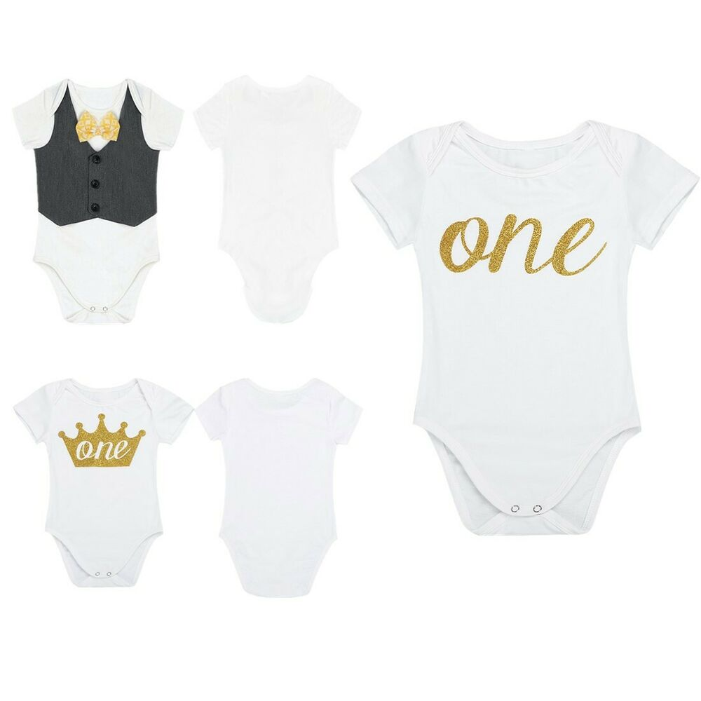 a3d38dbb89f5 Details about Baby 1st First Birthday Romper Infant Girl Boy Cake Smash  Bodysuit Party Outfit