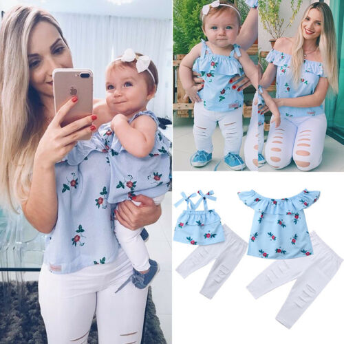 USA Family Matching Mother Daughter Women Kids Floral Striped Tops Pants Clothes