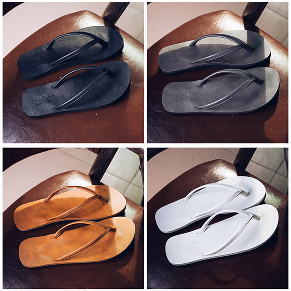 014e73cf1000f0 Details about New Men s Flip Flops PU Leather Slippers Men Summer Fashion  Beach Sandals Shoes