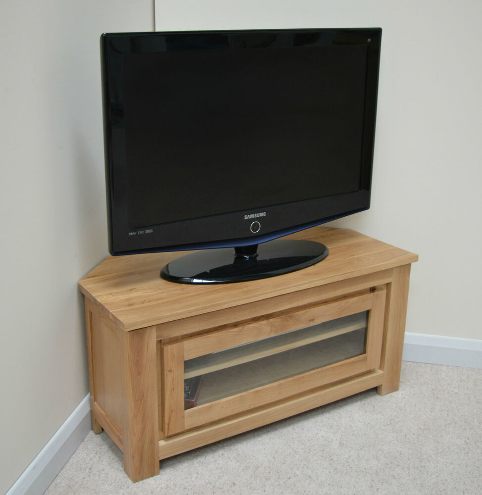 Stratton Oak Modern Corner Tv Stand With Glass Front Panel Solid