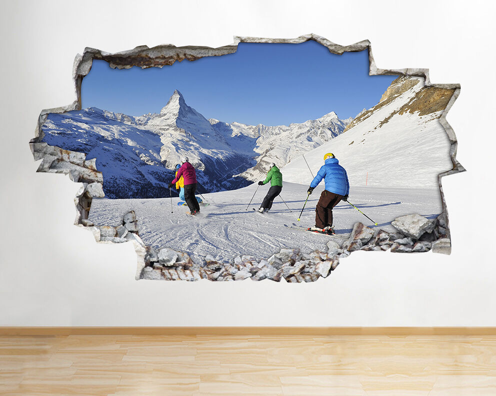 wall stickers skiing mountains snow smashed vinyl poster room decal