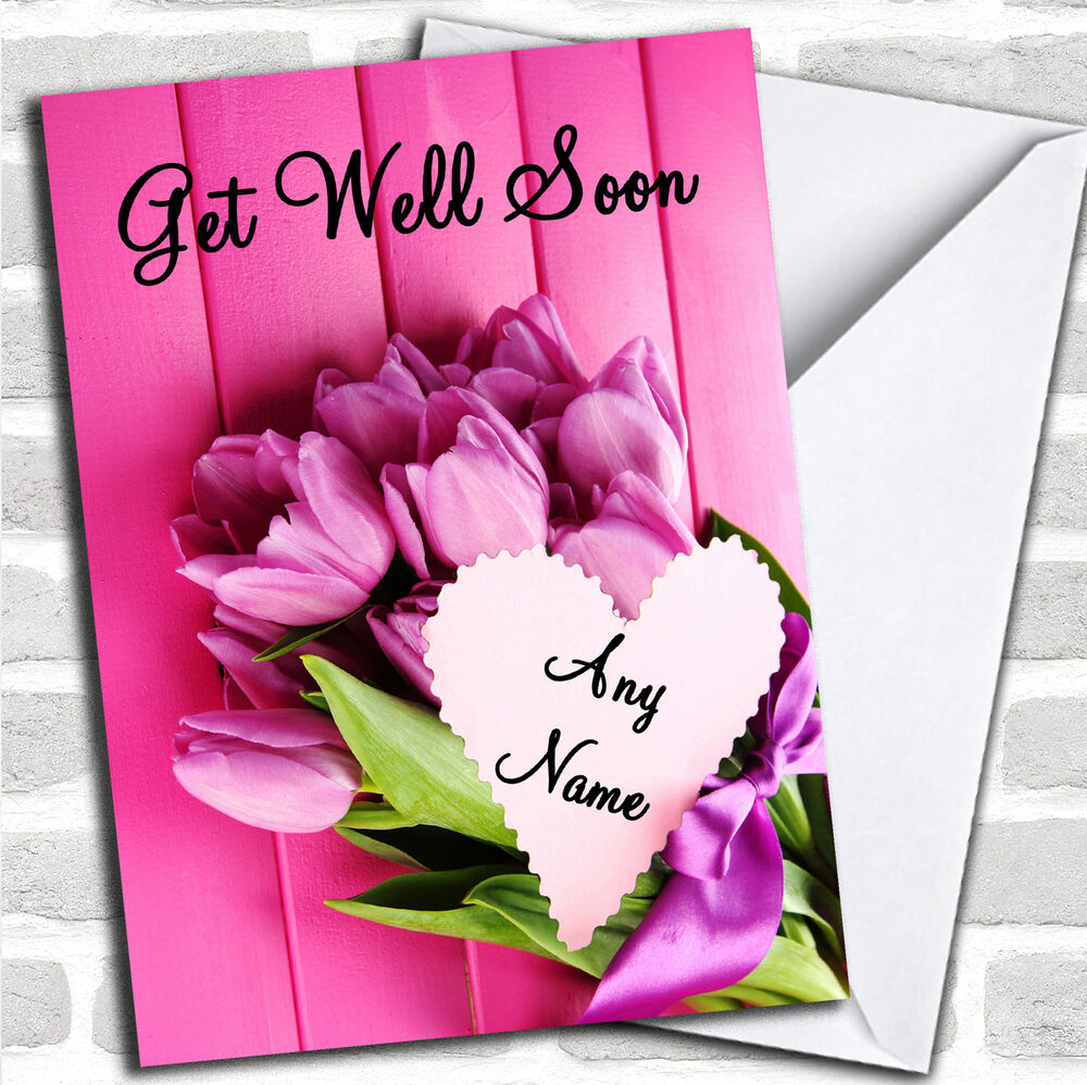 Pink Bunch Of Flowers Personalized Get Well Soon Card Ebay