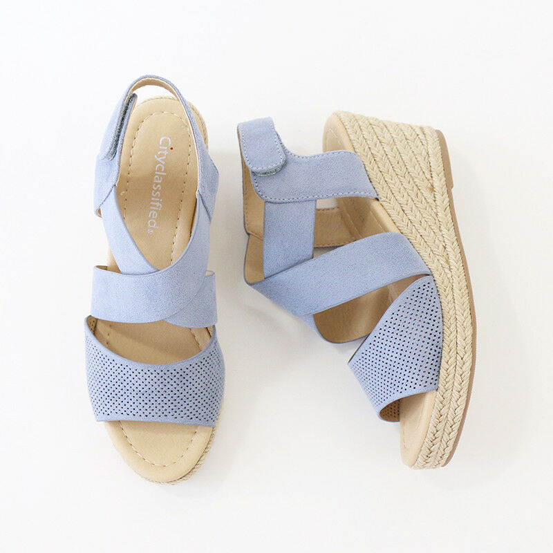 73c9c42b9cf Details about X Band Ankle Strap Perforated Faux Suede Espadrille Wedge  Platform Sandal Blue