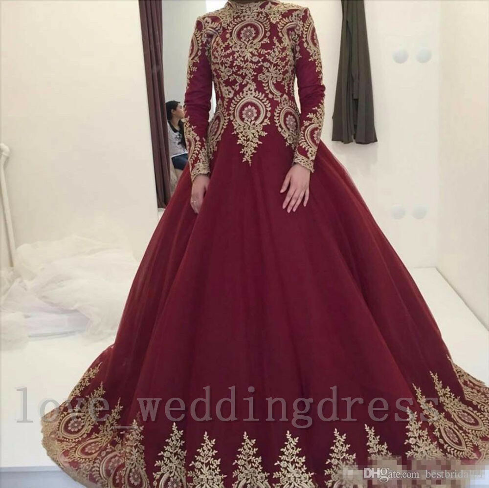 Muslim Vintage Ball Wedding Dresses High Neck Long Sleeve Gold Lace
