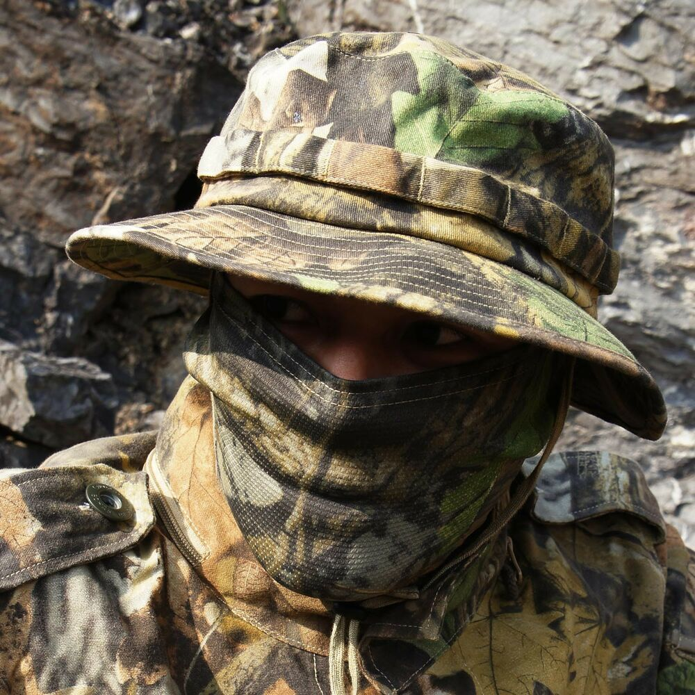 fdf499ffac1 Details about Tactical Boonie Hat Military Camo Bucket Wide Brim Sun  Fishing Brush Booney Cap