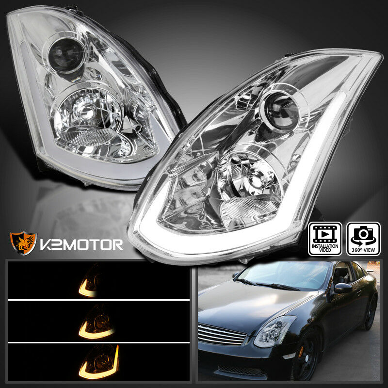 Details About Fits 2003 2007 Infiniti G35 Coupe Hid Type Led Strip Projector Headlights Pair