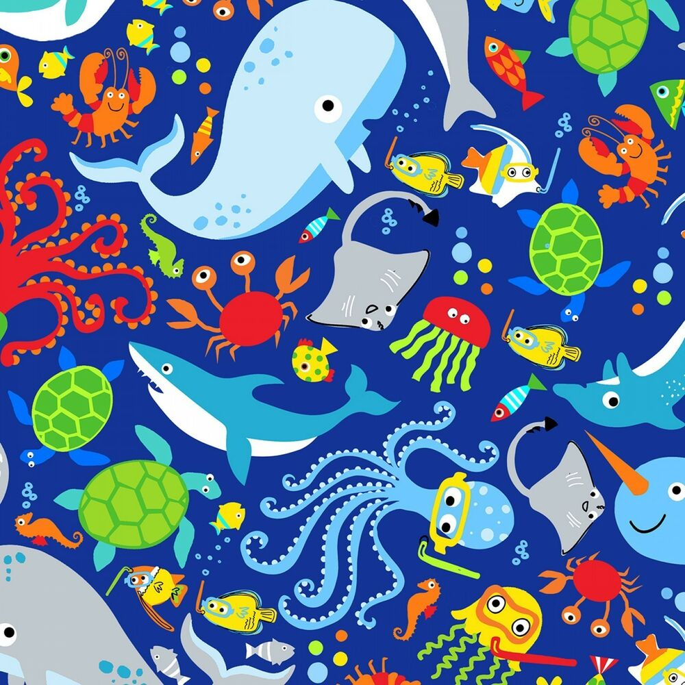 Fabric Baby Water Wishes Sea Animals Whales on Blue Cotton by the 1//4 yard