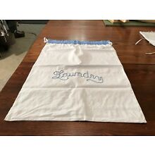 ANTIQUE / VINTAGE WHITE FEEDSACK LAUNDRY BAG Embroidered