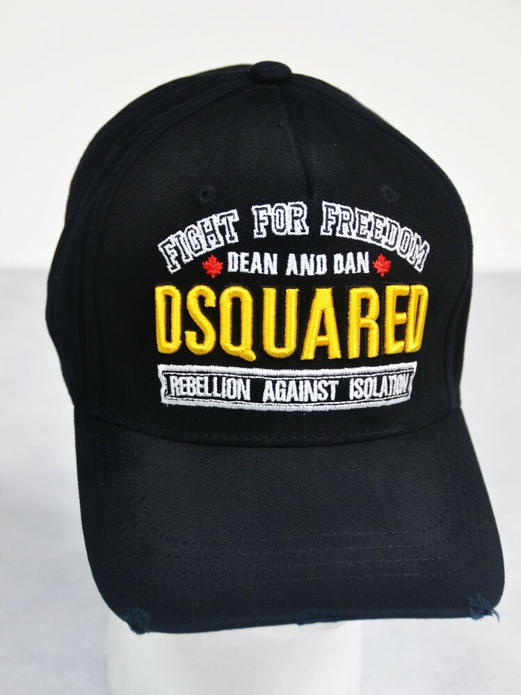 6df3087b358 Dsquared distressed BLACK Baseball Cap