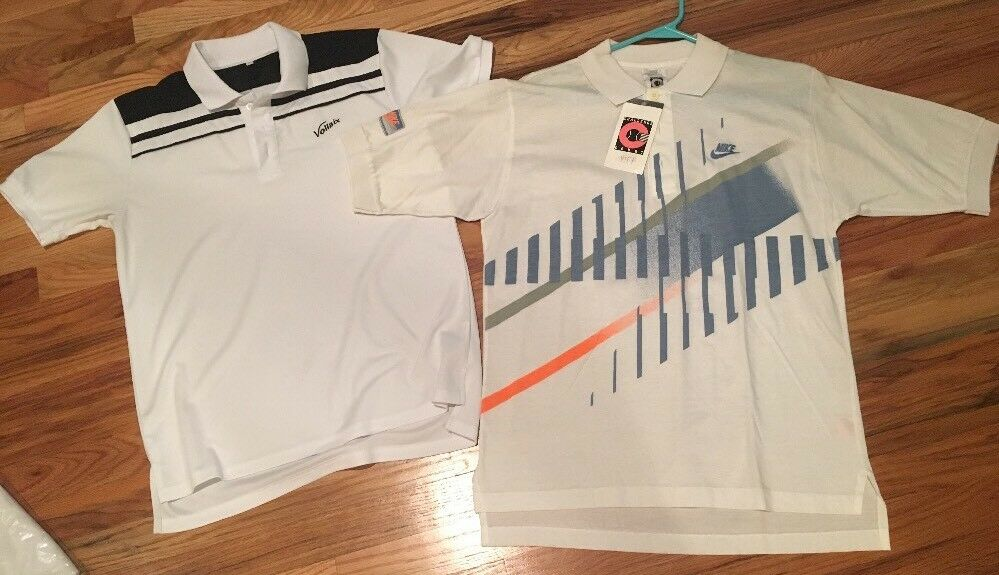 wholesale dealer 6f8b5 ef549 Details about Nike Challenge Court McEnroe And Vollaix Retro Vintage Tennis  Polo Shirts NWT