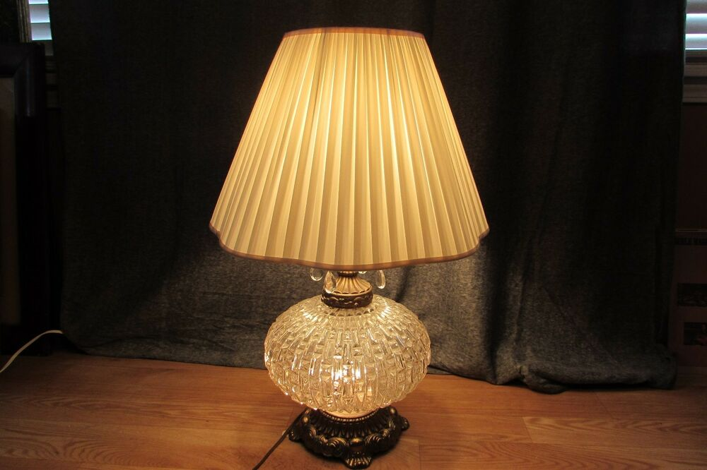 Vintage Glass Crystal Double Light Table Lamp With Hanging Prisms