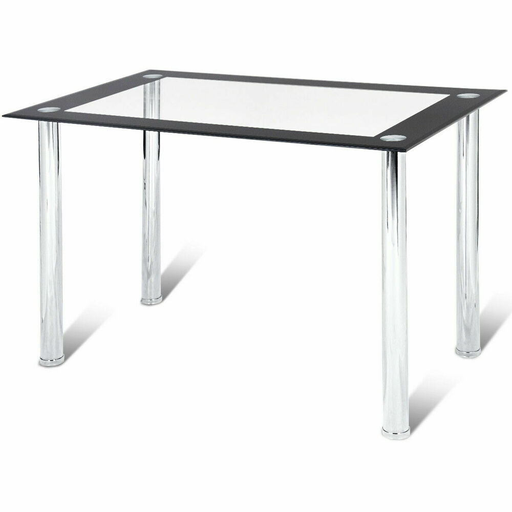 Details about modern dining table tempered glass top steel frame kitchen breakfast furniture