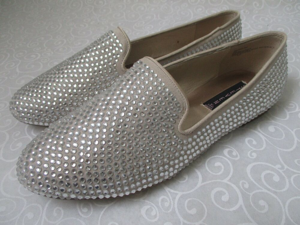 8e00149e3e83 Details about STEVEN BY STEVE MADDEN TAN RHINESTONE FLATS SHOES SIZE 9 W -  NEW