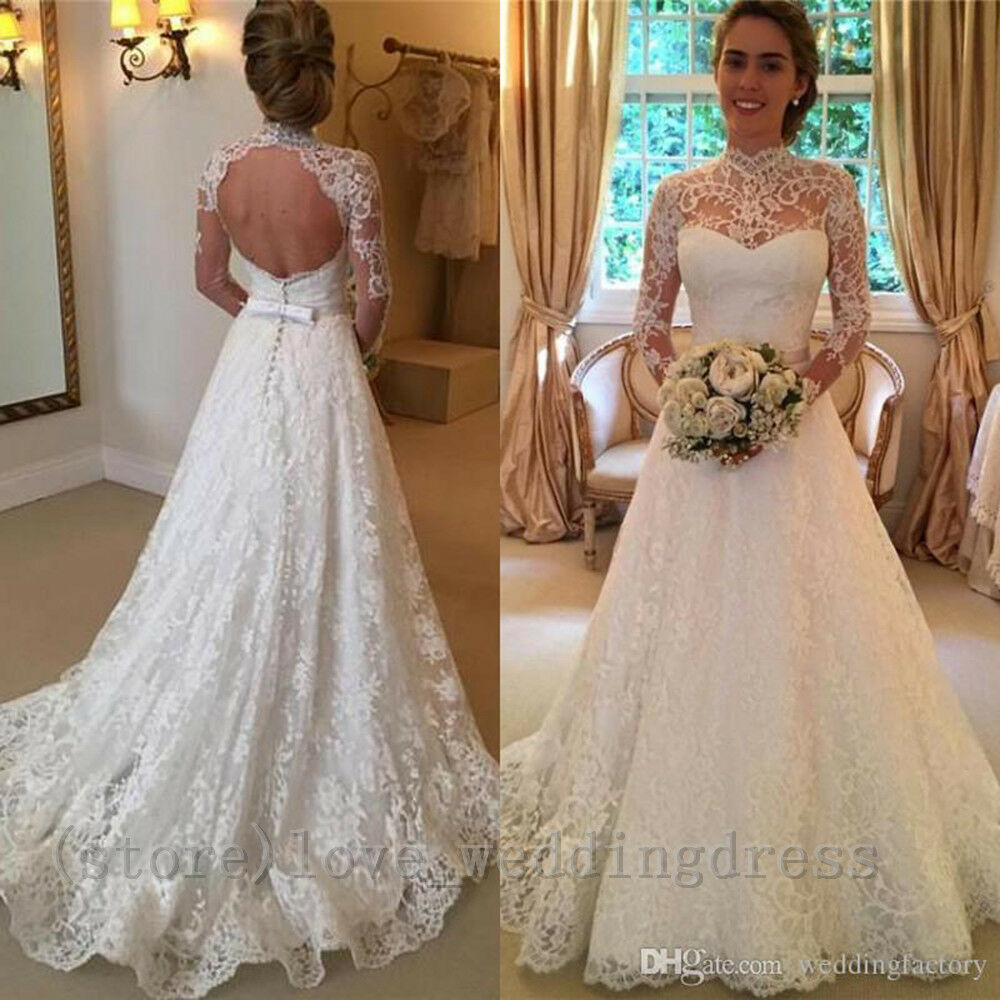 05c5e054644f Details about Arabic High Neck Wedding Dresses Vintage Long Lace Open Back  Beach Bridal Gowns