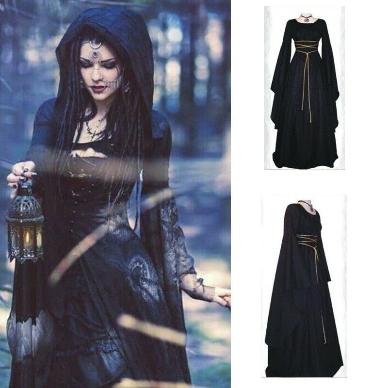 womens medieval halloween gown dress ladies party outfits gothic witch costume