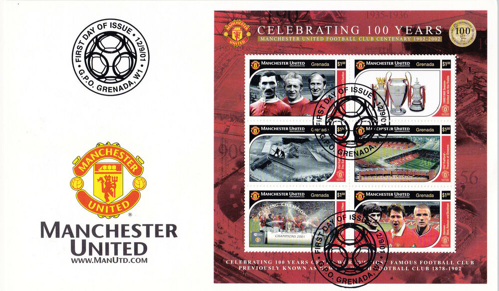 5c546aa1e Manchester United - Premiership Football Commemorative Stamp Sheet from  Grenada