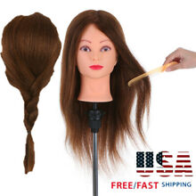 100% Real Human Hair Salon Cosmetology Training Hairdressing Head Mannequin M2X7