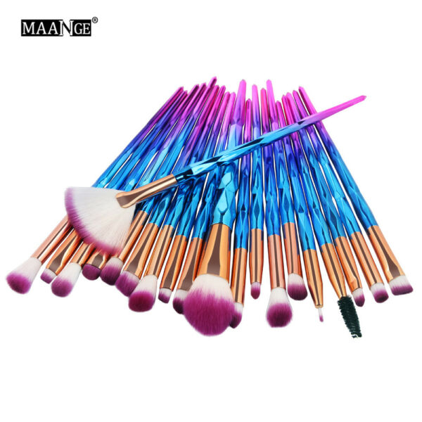 20PC Pro Mermaid Glitter Makeup Brushes Set Powder Foundation Cosmetic Brush Kit
