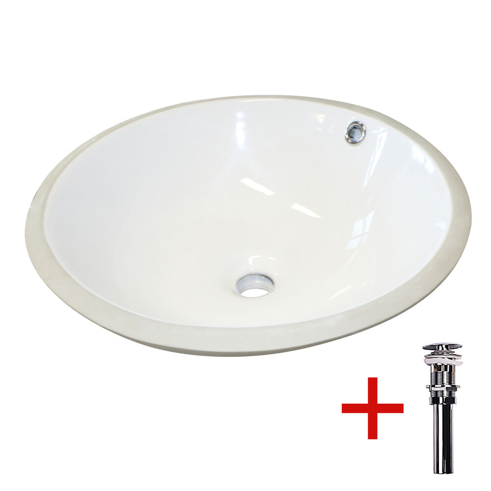 Undermount Bathroom Lavatory Round Ceramic Sink Bowl W Drain