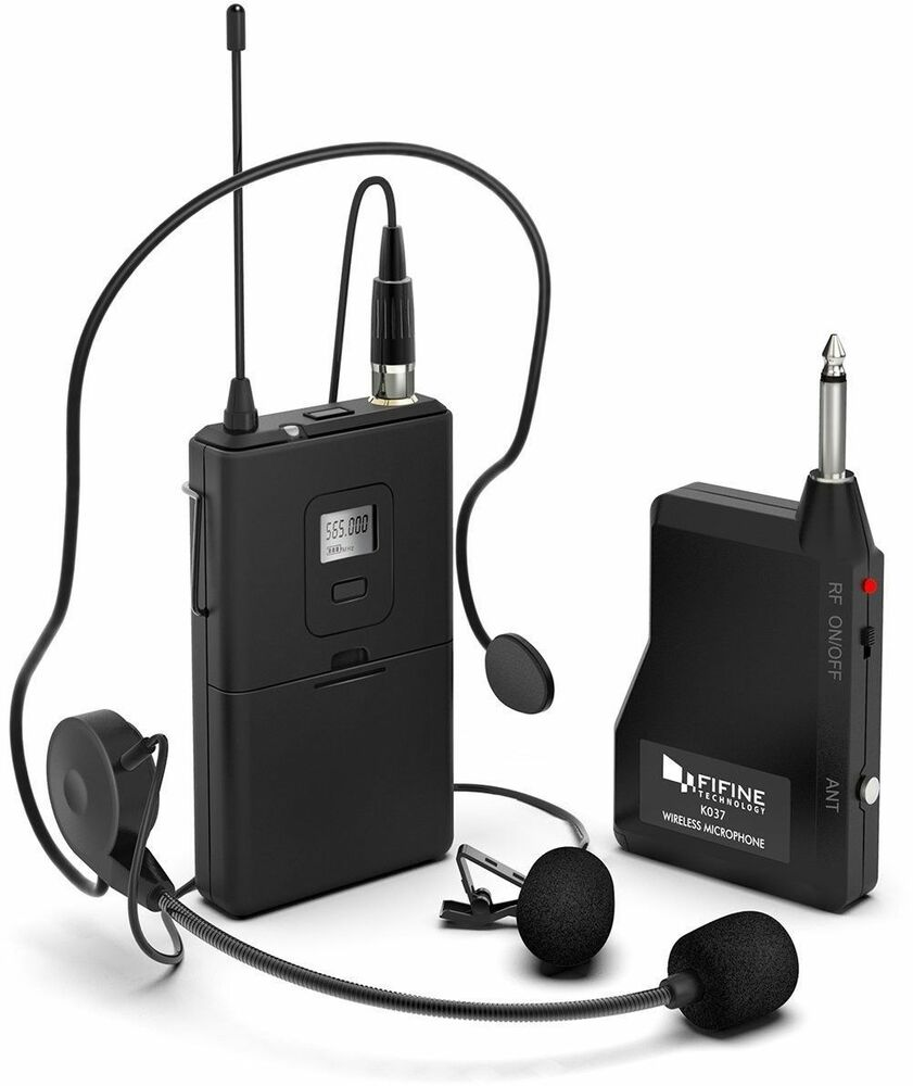 fifine k037b microphone system wireless microphone set with headset ebay. Black Bedroom Furniture Sets. Home Design Ideas