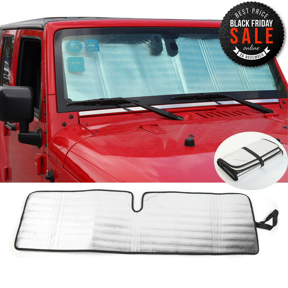 Details about Fit 2007-17 Jeep Wrangler Front Windshield Visor Sunshade  Custom-fit Sun shade 22c5d88a90e