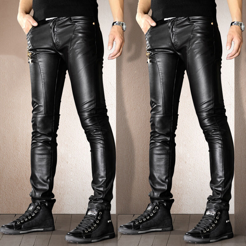 6deb28c5cd Details about Men Punk Motorcycle PU Leather Trousers Skinny Slim Fit Jeans  Pants Zsell