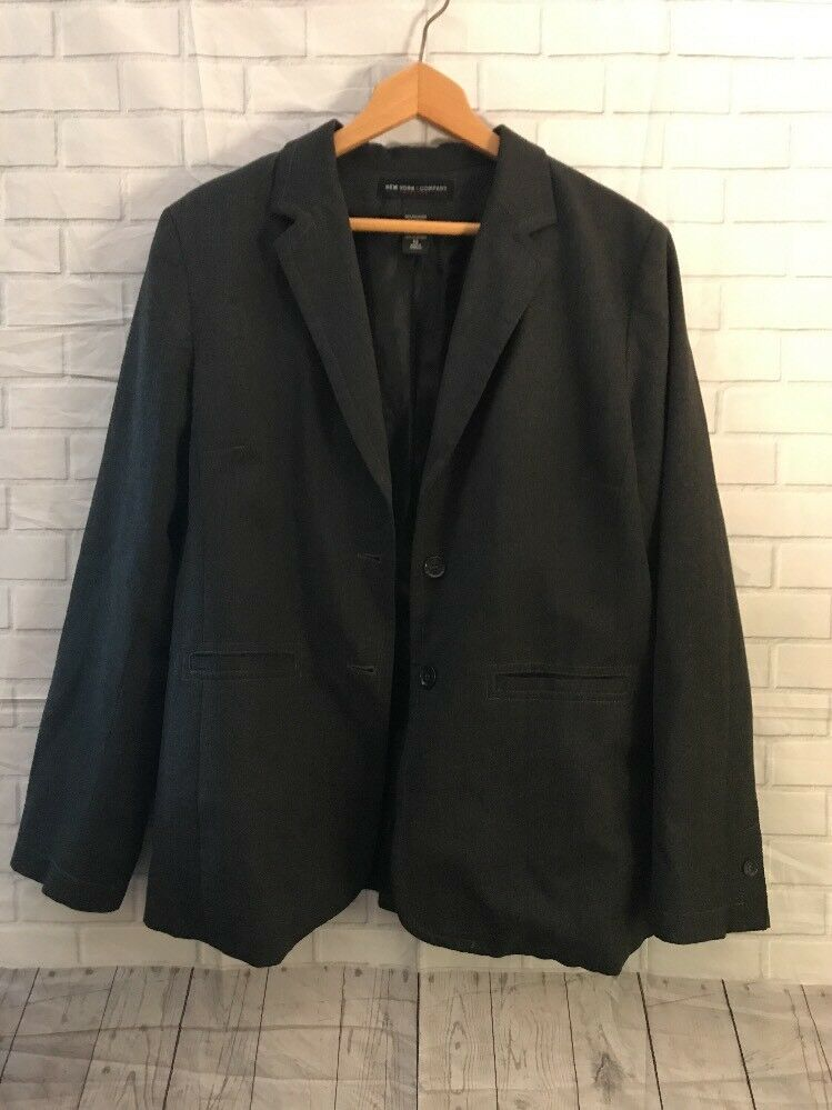 de1af320f Womens Sz 12 NEW YORK COMPANY City Stretch Charcoal Gray Suit Jacket ...