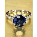 Blue Sapphire With Natural Diamond Accents Engagement Ring 14K WG  #5654