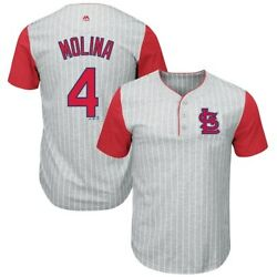 Yadier Molina St. Louis Cardinals Majestic Big & Tall Pinstripe Player T-Shirt -