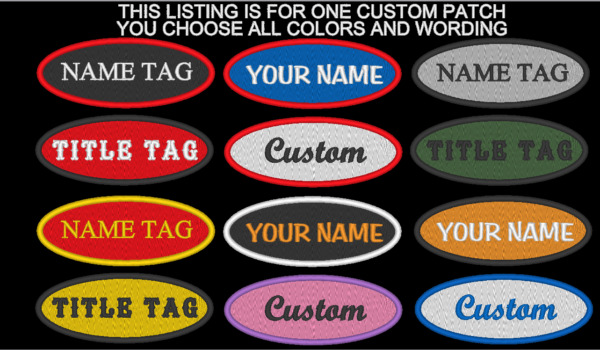 CUSTOM EMBROIDERED OVAL NAME TITLE PATCH 1 1/2 x 4