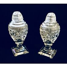 Vintage Crystal Glass Salt and Pepper shakers, Footed Crystal Tops