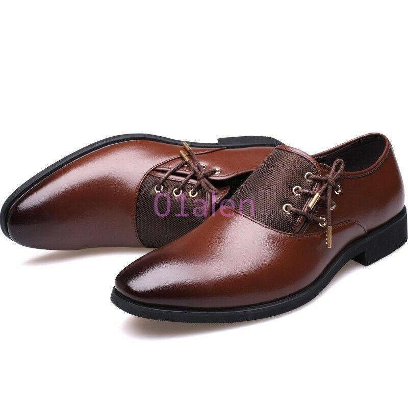 Details about Men SIde Lace Vintage Dress Formal Oxford Pointed Toe  Business New Shoes Leather