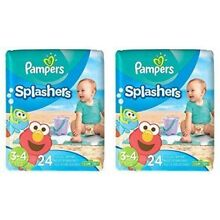 Pampers Splashers Disposable Swim Diapers, 24 Disposable pants each, size 3-4, 2