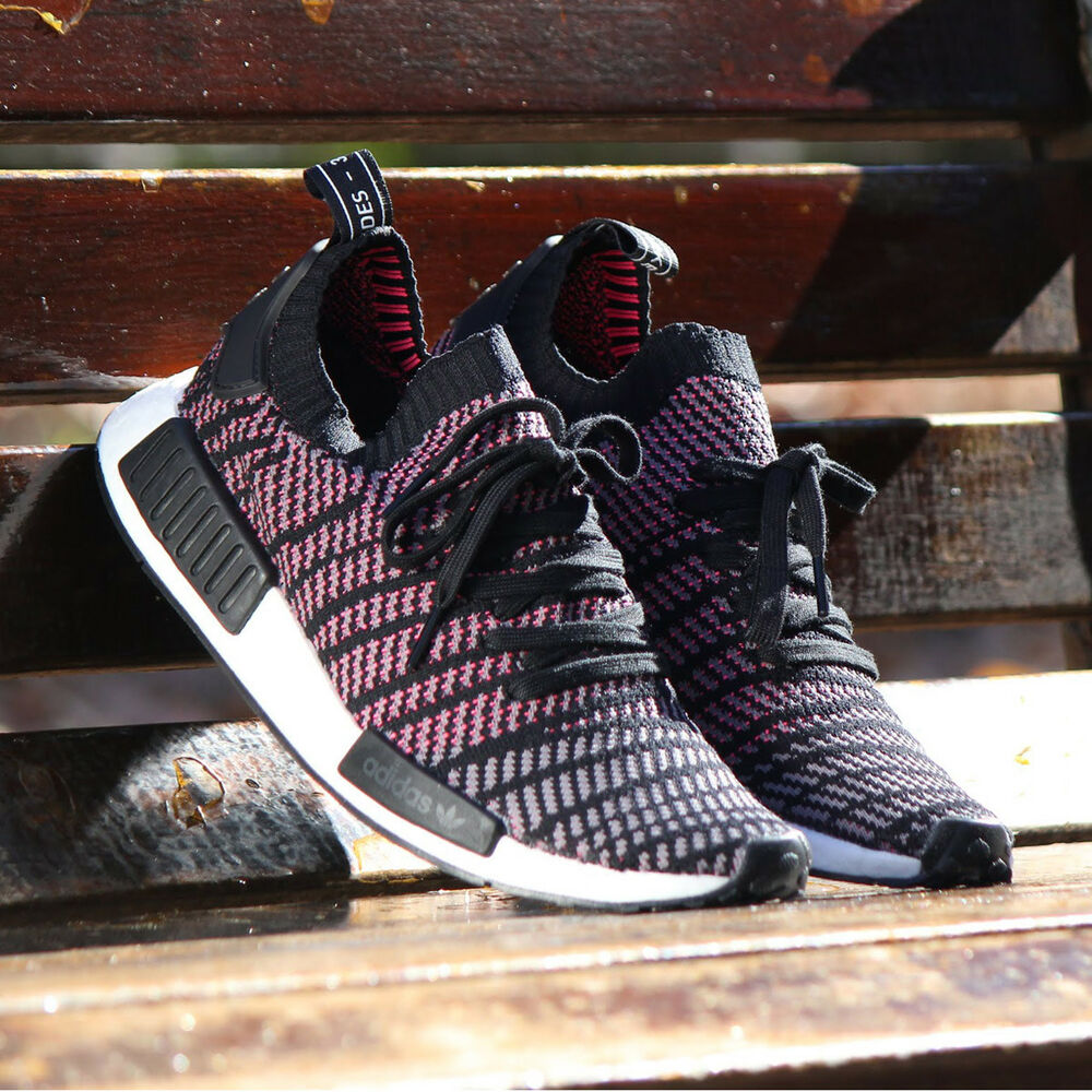 e5fcb0b890445 Details about Adidas NMD R1 Stlt PK Men s NMD R1 Primeknit Boost Running  Shoes black CQ2386