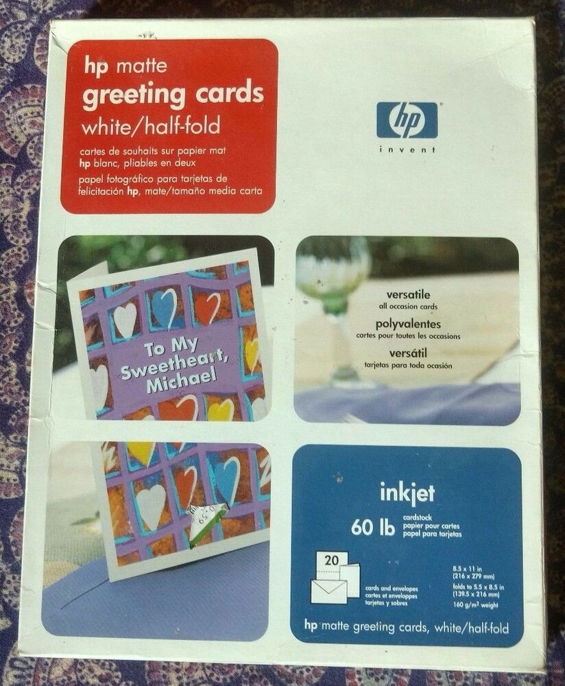 Hp Matte Half Fold White Greeting Cards 20 Cards And Envelopes