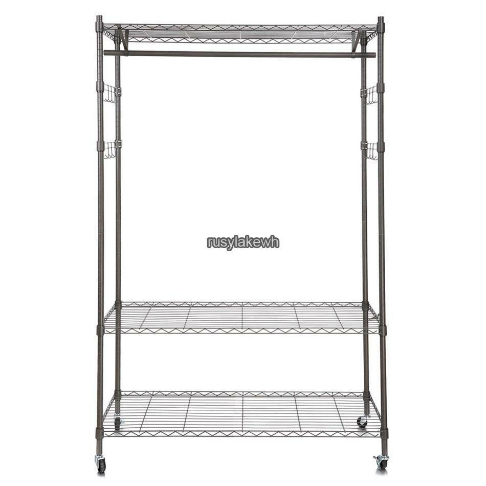 4 wheel wire shelving clothes garment rack rolling shelf tidy hanging heavy duty ebay. Black Bedroom Furniture Sets. Home Design Ideas