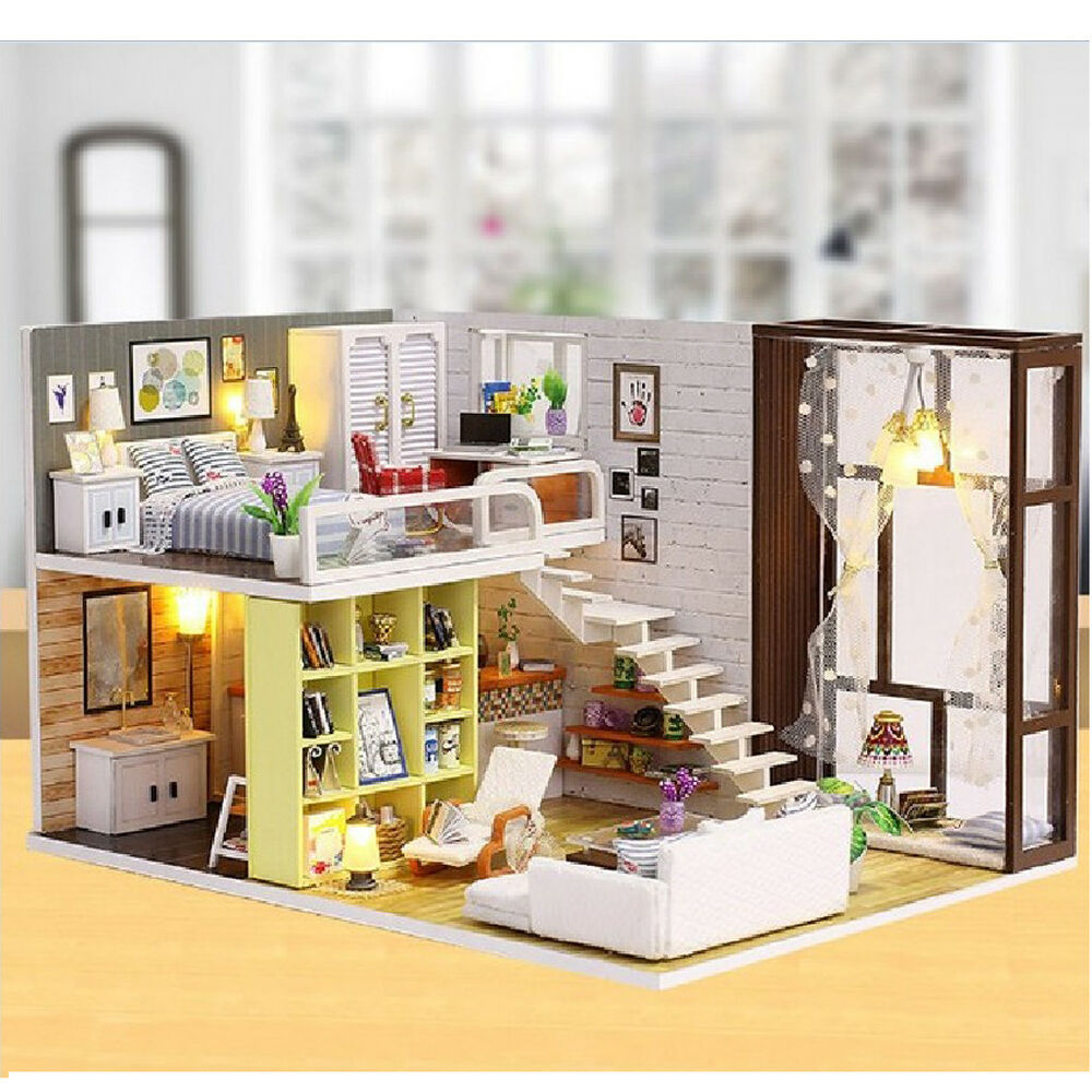 Details about dollhouse miniature diy kit toy with furniture handicraft modern house gift